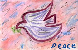 Peace Dove watercolor - copyright KBCain